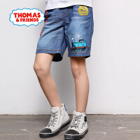 【满600减400】托马斯正版童装男童夏装2018夏季新款牛仔印花短裤松紧腰