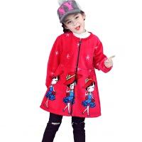 儿童羽绒服罩衣秋冬季加绒加厚反穿衣长袖拉链画画衣护衣女童围裙lp