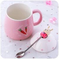 创意陶瓷杯杯子个性水杯女学生韩版韩国清新可爱大肚带盖勺马克杯