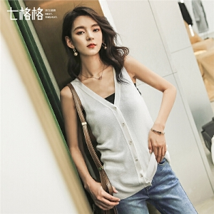 七格格针织吊带背心女夏季2019新款韩版V领无袖白色外穿宽松上衣