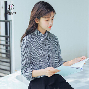 欧若珂  2018秋季新款韩版chic风领口系蝴蝶结格子学生长袖衬衫女