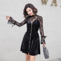 欧洲站女装2018春季新款性感蕾丝喇叭袖丝绒吊带两件套连衣裙 黑色
