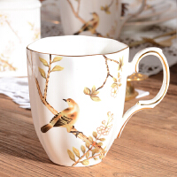 欧式马克杯陶瓷咖啡杯子高档复古大容量水杯办公室茶杯早餐奶杯5289 喜上眉梢马克杯(送长冰勺)