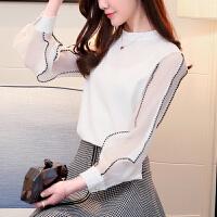 2018新款春款洋气小衫女新款春装雪纺衫长袖韩版时尚衬衫打底气质上衣
