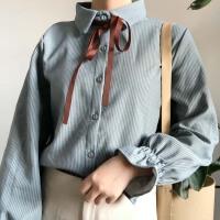 秋冬新款韩版蝴蝶结系带喇叭袖学生小清新上衣加绒长袖打底衬衫女