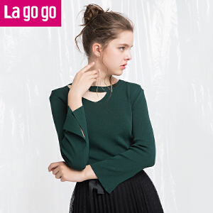 Lagogo/拉谷谷2018年春新款时尚镂空喇叭袖长袖针织衫