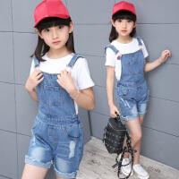女童牛仔背带裤夏装新款韩版童装女孩裤子中大童儿童夏季短裤