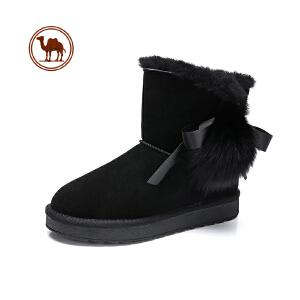 骆驼牌女靴2018冬季新品时尚甜美舒适靴子套筒中筒厚底雪地靴女