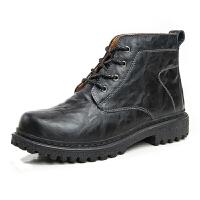 冬季加棉男士高帮工装靴牛皮马丁鞋真皮大头皮鞋休闲