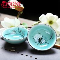 白领公社 茶杯 手绘陶瓷青瓷过滤式加厚耐高温大容量50ML小号茶碗单个喝茶主人杯普洱茶盏茶具