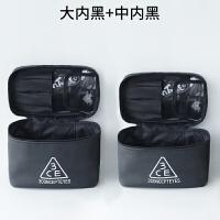 化妆包大容量韩国旅行防水大号简约便携小方包化妆品收纳包洗漱包 大号内黑+