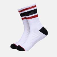 精英篮球袜中长高筒高帮羽毛球袜男士户外加厚毛巾底运动袜子 白色, 横条白色 均码