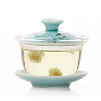 茶具玻璃青瓷盖碗 功夫茶杯茶碗三才碗手绘青瓷陶瓷玻璃盖碗