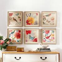 奇居良品 欧美式家居饰品有框客厅餐厅现代装饰画 瓦伦西亚花鸟蝶