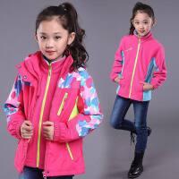 女童冬装加绒加厚外套2018新款中大童可拆卸两件套三合一冲锋衣