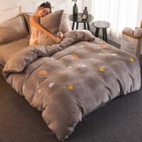 韩版珊瑚绒四件套加厚床上用品双面法兰绒法莱绒1.8m床单被套冬季