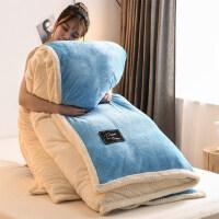 家访床上被褥套装冬季棉被两用被褥套装单人双人被子全棉冬被加厚保暖被芯春秋10斤 天蓝色 裸睡保暖面料 220x240c