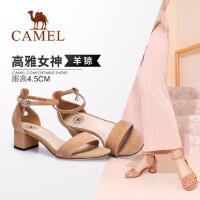 骆驼女鞋 新款夏简约中跟凉鞋 一字扣带粗跟鞋韩版舒适女凉鞋