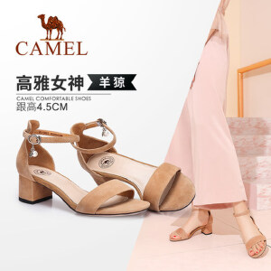 骆驼女鞋 2018新款夏简约中跟凉鞋 一字扣带粗跟鞋韩版舒适女凉鞋