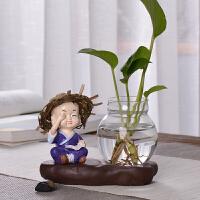 陶瓷摆件家居客厅装饰创意玻璃绿萝水培透明容器水养植物小插花瓶 乳白色 草帽-不看 小