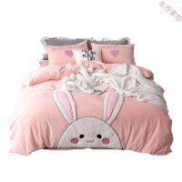 保暖宝宝绒四件套卡通贴布绣1.8米 2.0床上用品水晶绒床单被套床笠 【被套加大】