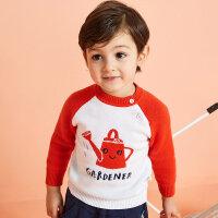 【1件2.5折到手价:44.8】moomoo童装男童毛衣套头新款春装撞色韩版小儿童宝宝毛衫