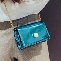 亮面女包2018新款潮包单肩斜挎链条包韩版时尚小方包糖果色小包包