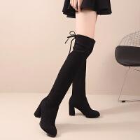 弹力布靴子女秋冬粗跟过膝长靴女高跟显瘦弹力布后绑带靴子高筒中跟绒面长筒靴 TBP