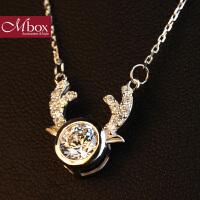 新年礼物Mbox项链 女款韩国版S925银镶嵌施华洛世奇锆石锁骨项链 麋鹿吉祥
