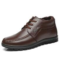 棉鞋男士冬季保暖加绒圆头高帮鞋黑休闲爸爸加厚皮鞋中老年人棉鞋
