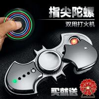 手指指尖陀螺创意礼物usb充电打火机减压 蝙蝠侠闪光电子点烟器