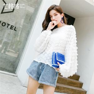 七格格很仙的上衣显瘦洋气女2019新款春装韩版灯笼袖衬衫雪纺小衫