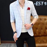 2018新款夏季短袖西装男士休闲薄款中袖西装潮流韩版青年七分袖西服男短袖西装外套