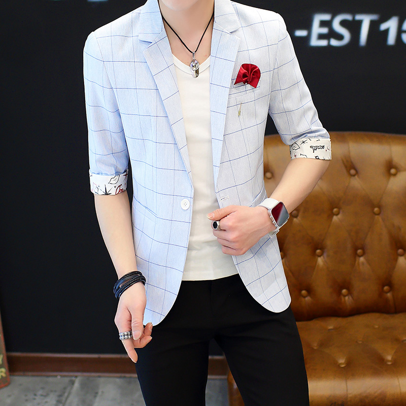 2018新款夏季短袖西装男士休闲薄款中袖西装潮流韩版青年七分袖西服男短袖西装外套 发货周期:一般在付款后2-90天左右发货,具体发货时间请以与客服协商的时间为准