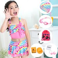 女童泳衣 分体性感宝宝公主裙式裤小中大童游泳衣泳装 儿童比基尼