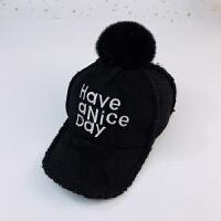 儿童帽子加绒秋冬男童2毛绒棒球帽3宝宝毛球鸭舌帽8女孩7保暖帽潮 均码