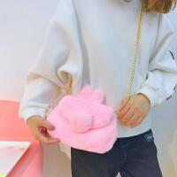 日系可爱色毛绒兔子尾巴斜挎包软妹链条单肩斜挎包卡通手机包女 兔子屁股斜挎包 粉色