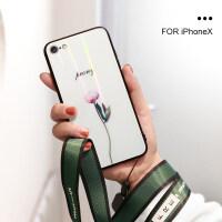 苹果6splus手机壳x苹果7plus女款i6玻璃壳8plus新款小清新iPhone xs max极 i6/6s 康乃