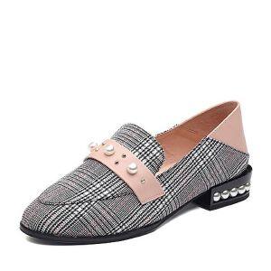 Teenmix/天美意2018春专柜同款纺织品/牛皮革格纹珠饰方跟穆勒乐福鞋女单鞋CCV02AQ8