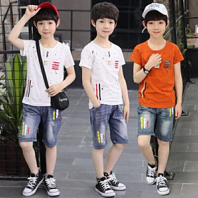 男童夏装套装新款短袖泼墨牛仔两件套儿童中大童短裤夏季童装