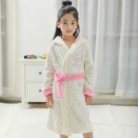 儿童睡袍珊瑚绒男孩女童秋冬法兰绒浴袍小公主亲睡衣