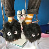 港味韩版童趣卡通黑球球可爱拖鞋日系冬季毛绒情侣居家棉拖鞋