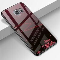 三星galaxy s6e+手机壳玻璃女sm-g9280曲面保护套防摔s6plus男 白狐红线【三星 s6edge+5.