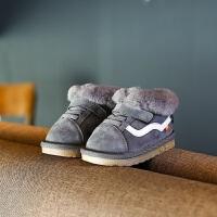 冬季宝宝雪地靴男1-3岁软底防滑学步鞋女童加绒加棉婴儿保暖鞋子