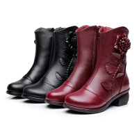 秋冬真皮粗跟短靴妈妈鞋中跟花朵加绒中年女靴子中老年棉靴中筒靴软底 黑色 薄棉