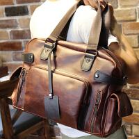 年男包包韩版斜跨包单肩包旅行包 潮包 手提包男款休闲包大包 咖啡色