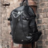 鳄鱼双肩包男士时尚潮流休闲简约潮男大学生书包电脑包旅行包背包