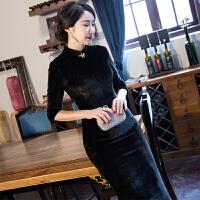 旗袍冬季2018新款女改良旗袍连衣裙长款优雅加厚保暖传统老上海 黑色 50黑