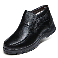 波图蕾斯秋冬新品男靴爸爸鞋棉鞋中老年皮鞋加绒商务休闲鞋棉靴高帮正装鞋