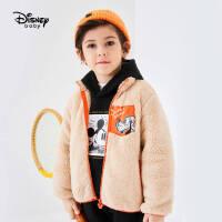 【限时秒杀价:50.1元】迪士尼男童冬季针织加绒立领外套儿童宝宝卡通时尚洋气休闲上衣